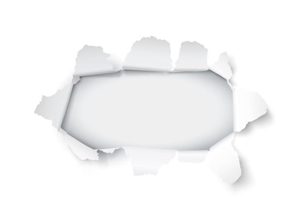 Furo de papel de explosão no fundo branco. ilustração vetorial