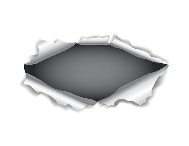 Furo do papel. papel rasgado realista com bordas rasgadas. furo rasgado na folha de papel em um fundo escuro. ilustração
