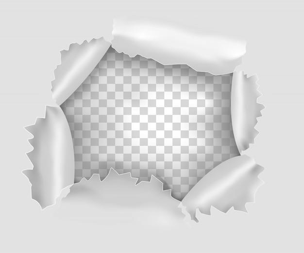 Furo rasgado na folha de papel