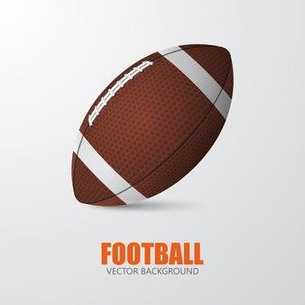 Futebol americano. close up realista de futebol único em um fundo cinza com texto.