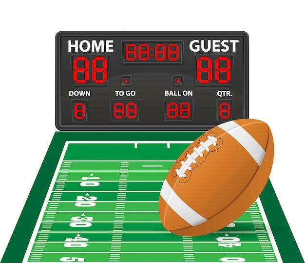 Futebol americano ostenta ilustração em vetor digital de placar