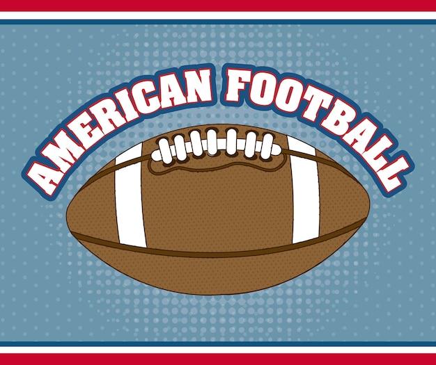 Futebol americano sobre ilustração vetorial de fundo azul