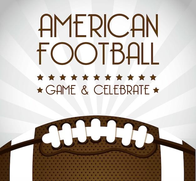 Futebol americano sobre ilustração vetorial de fundo cinza