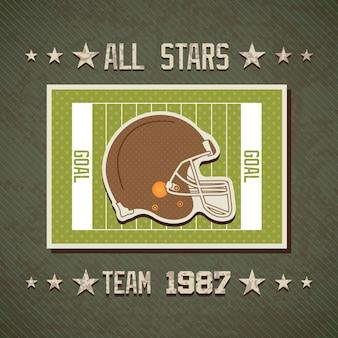 Futebol americano, tudo, estrelas, equipe, ligado, campo, com, capacete, vetorial, fundo