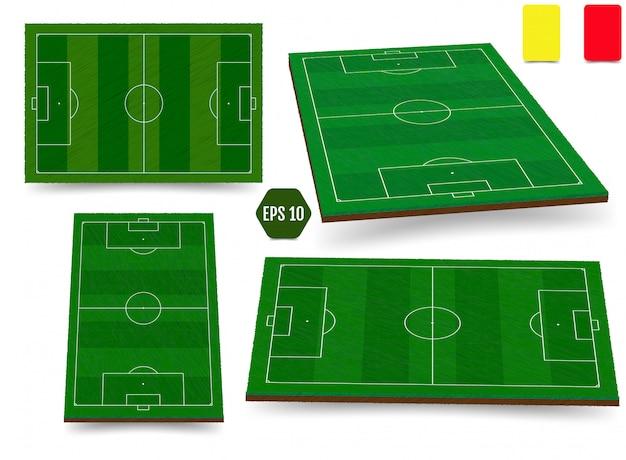 Futebol, campo de futebol europeu na vista superior diferentes ângulos poi