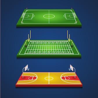 Futebol campos de futebol e basquete