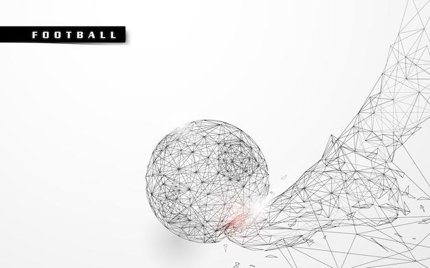 Futebol chutando a partícula de linhas de forma de bola
