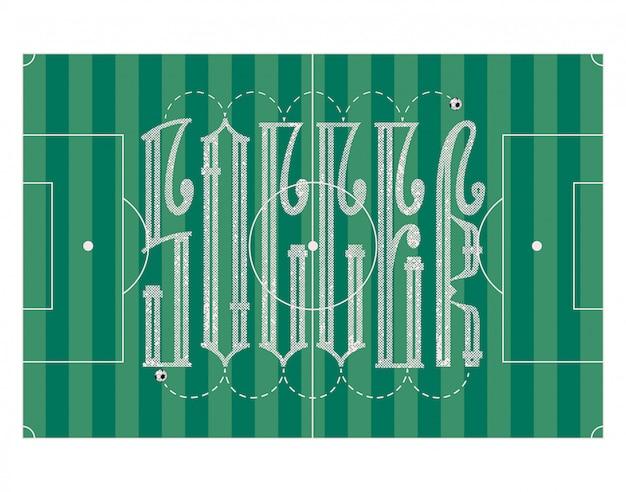 Futebol - conceito da bandeira, ligadura da inscrição, com bola de futebol.