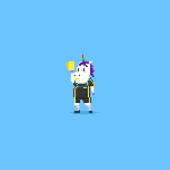 Futebol de árbitro de unicórnio de pixel