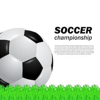 Futebol de bola 3d realista no campo de grama verde