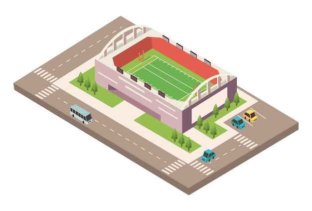 Futebol de estádio com estrada
