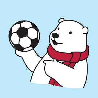 Futebol de futebol urso polar