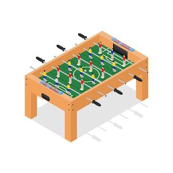 Futebol de mesa jogo hobby ou lazer vista isométrica.