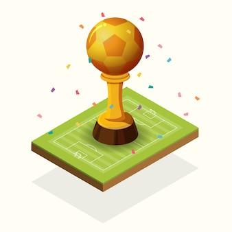 Futebol dourado do troféu e campo isométrico.