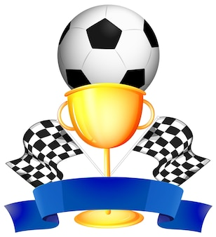 Futebol e troféu de ouro