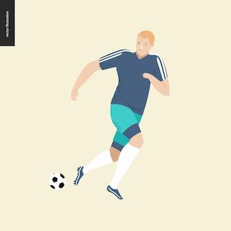 Futebol europeu, jogador de futebol chutando uma bola de futebol