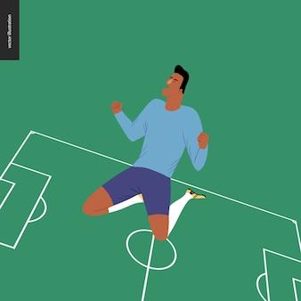 Futebol europeu, jogador de futebol, ganhando uma vitória - um jovem vestindo o equipamento de futebol europeu