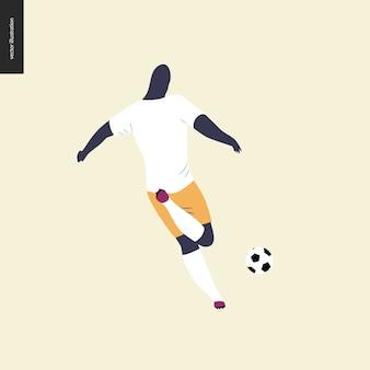 Futebol europeu, jogador de futebol - ilustração do vetor plana de um jovem chutando uma bola de futebol