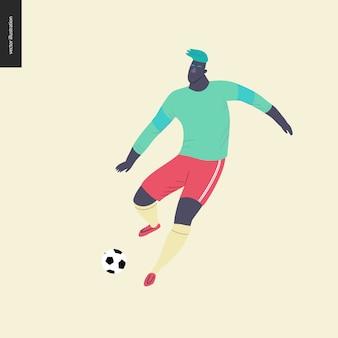 Futebol europeu, jogador de futebol - ilustração do vetor plana de um jovem vestindo equipamento de jogador de futebol europeu, chutando uma bola de futebol