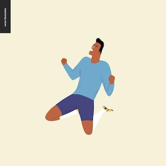 Futebol europeu, jogador de futebol - ilustração vetorial plana - jogador de futebol, ganhando uma vitória