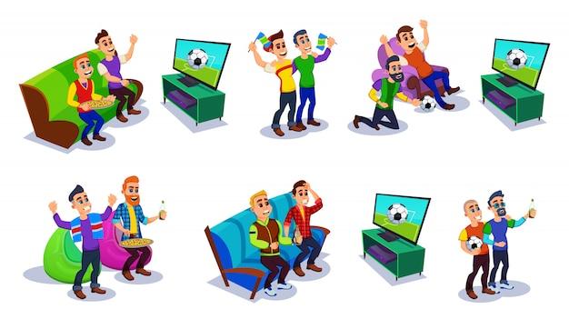 Futebol, fãs de futebol e amigos assistindo tv.