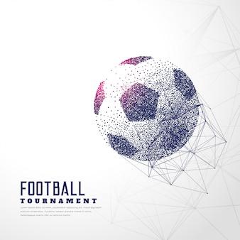 Futebol feito com pontos de partícula e malha de arame