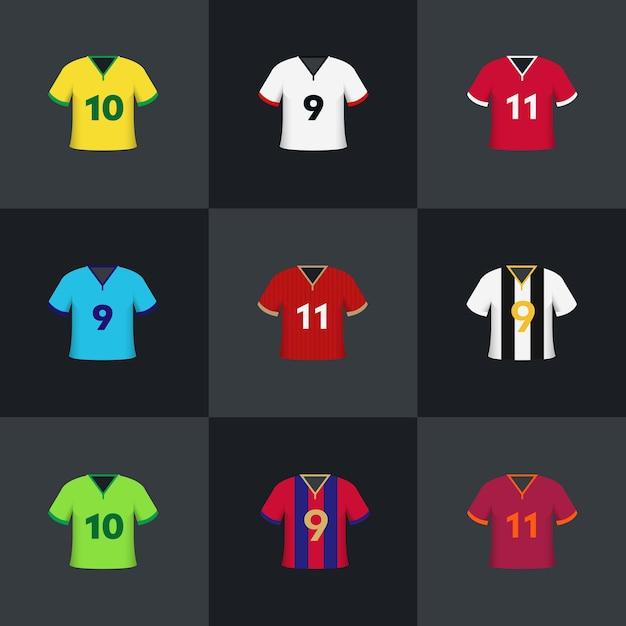 Futebol futebol camisas ilustração vetorial ícone conjunto