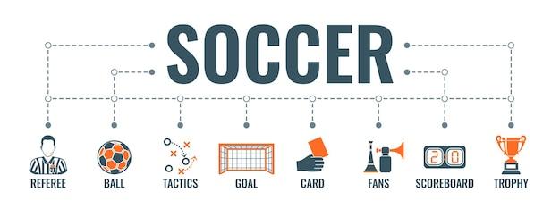 Futebol infográficos horizontais ícones plana bola de futebol, objetivo, troféu e árbitro. Vetor Premium