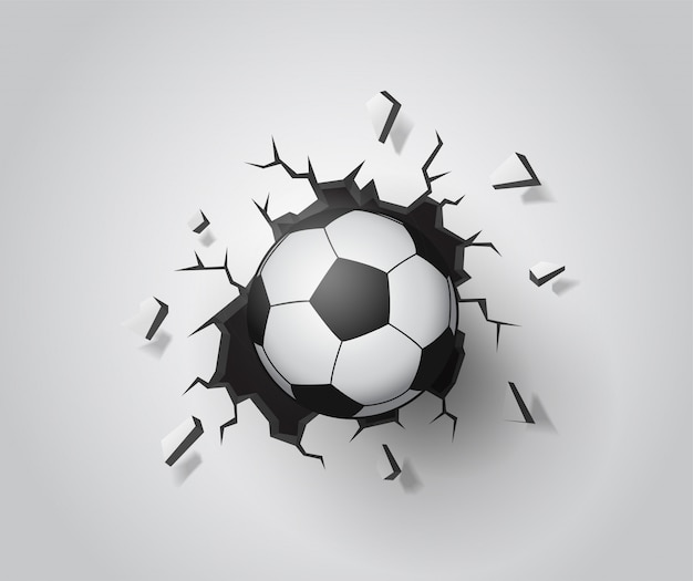 Futebol na parede quebrada. vetor eps10 da ilustração.