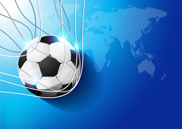 Futebol no gol Vetor Premium