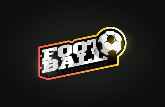 Futebol ou futebol logotipo do esporte profissional moderno em estilo retro