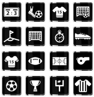 Futebol simplesmente conjunto de ícones de vetor