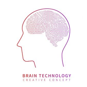 Futura tecnologia de inteligência artificial. cérebro mecânico conceito de vetor de ideia criativa