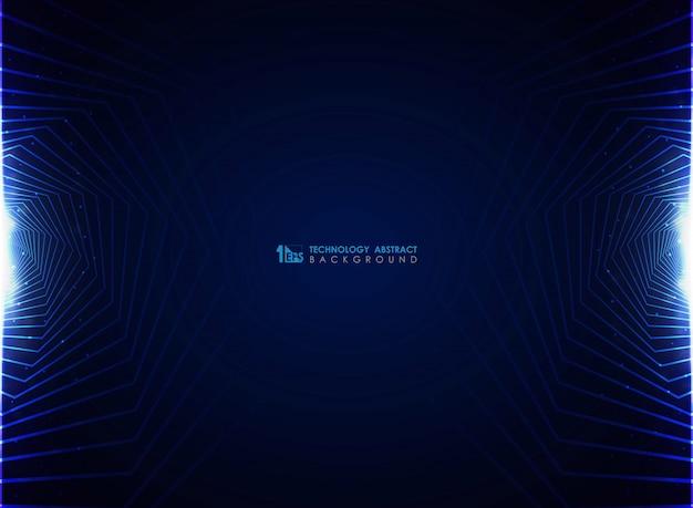 Futurista azul moderno do fundo do projeto do pentagon.