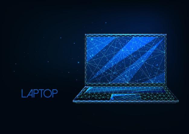 Futurista brilhante baixo poligonal laptop isolado em fundo azul escuro.