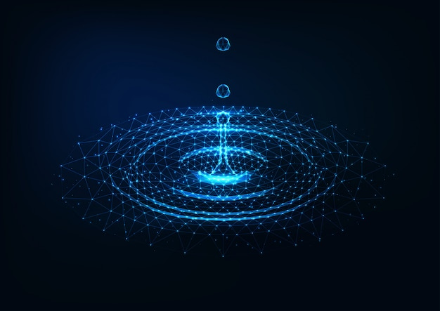Futurista brilhante poli baixa água caindo gotas e ondulações de círculo de água em azul escuro.