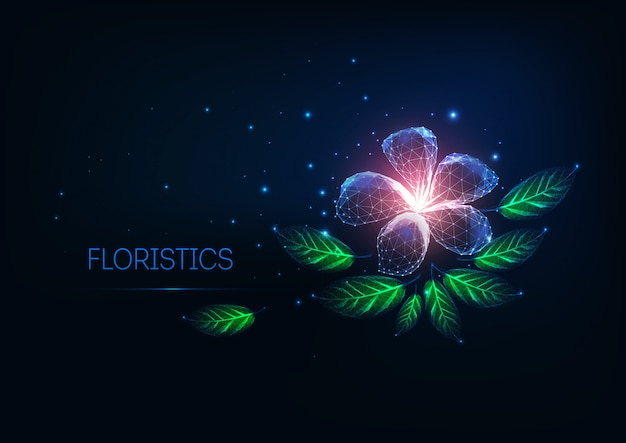 Futurista brilho baixo poli florística, conceito de loja de flores on-line com flor roxa e folhas verdes