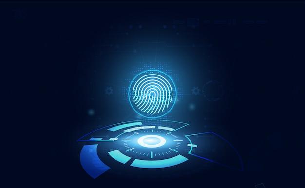 Futurista com conceito de impressões digitais. detecção de roubo