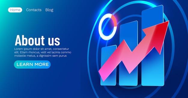 Futurista crescente gráfico banner finanças e conceito de infográfico comercial