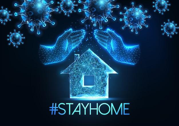 Futurista ficar em casa durante o conceito de quarentena de coronavírus com mãos brilhantes, protegendo uma casa