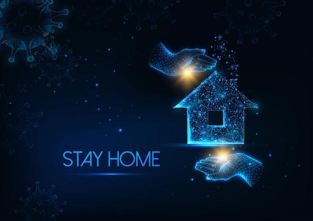 Futurista ficar em casa durante o conceito de quarentena de coronavírus com mãos brilhantes, segurando uma casa