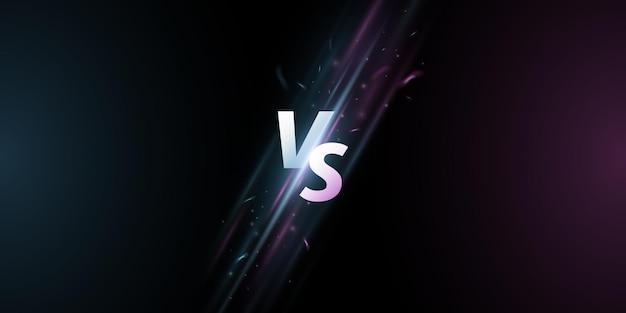 Futurista versus tela. letras vs em um fundo com raios brilhantes para jogos esportivos, partidas, torneios, competições de e-sports, artes marciais, batalhas. conceito de jogo. vetor