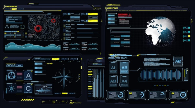 Futuristic dashboard hud interface future frame holograma ui infográfico globo interativo terra