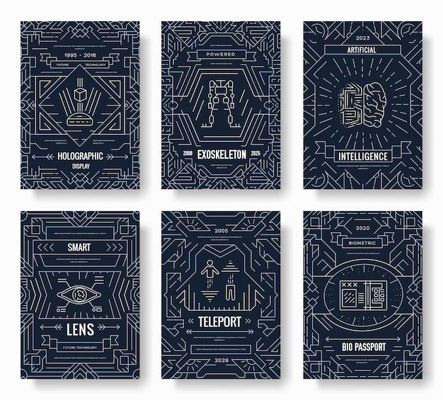 Futuro conjunto de cartões de brochura de linha fina