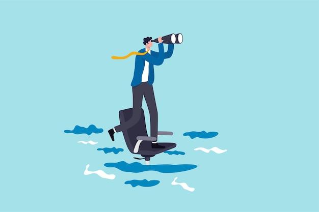 Futuro de carreira ou oportunidade de trabalho, sendo ignorado ou negligenciado pelo chefe ou colegas, incerteza no trabalho ou conceito de carreira, empresário solitário em pé olhar para um futuro próximo na cadeira de escritório afundando.