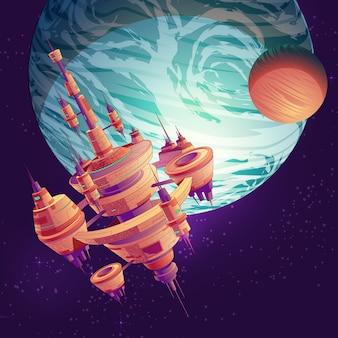 Futuro desenho animado de exploração do espaço profundo