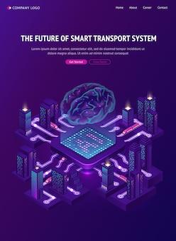 Futuro do banner do sistema de transporte inteligente.