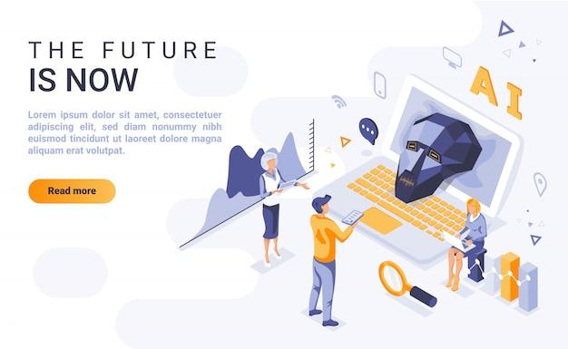 Futuro é agora banner de página de destino com ilustração isométrica