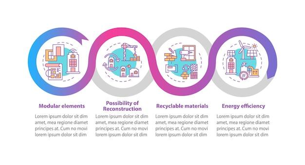 Futuro edifício de escritórios exige modelo de infográfico. elementos de design de apresentação de elementos modulares.