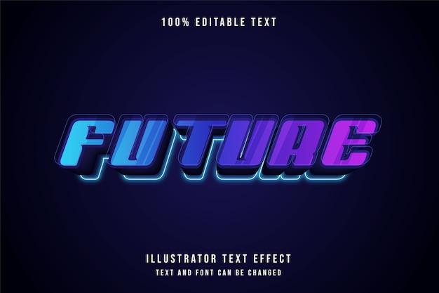 Futuro, efeito de texto editável 3d gradação azul estilo roxo rosa neon